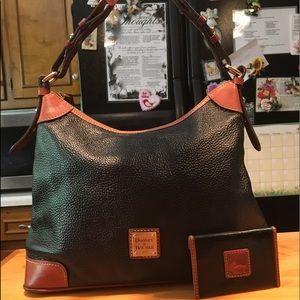 D&B Black Pebbled Leather Hobo &  Card/Cash Holder